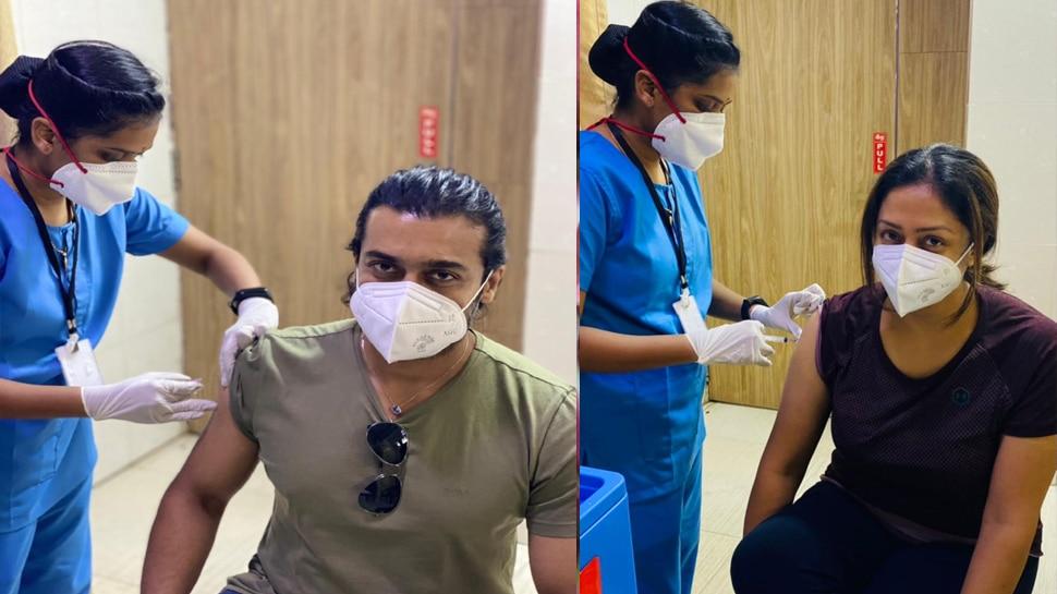 Covid Vaccination : തമിഴ് നടൻ സൂര്യയും ഭാര്യ ജ്യോതികയും കോവിഡ് വാക്സിൻ ആദ്യ ഡോസ് സ്വീകരിച്ചു