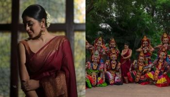 ട്രഡീഷണൽ സാരിയിൽ ക്ലാസിക് ലുക്കിൽ Shamna Kasim; ചിത്രങ്ങൾ കാണാം
