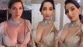 Nora Fatehi: Ivory White Deep Neck ലെഹങ്കയില്  Hotness Queen നോറാ ഫതെഹി, മനോഹരമായ ചിത്രങ്ങള് കാണാം